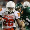 OSU\'s Quinton Moore (26) runs past Baylor quarterback Blake Szymanski after Moore intercepted a Symaski pass in the second half during the college football game between Oklahoma State University and Baylor University at Floyd Casey Stadium in Waco, Texas, Saturday, Nov. 17, 2007. BY MATT STRASEN, THE OKLAHOMAN