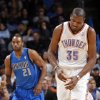 Oklahoma City\'s Kevin Durant (35) reacts after a turnover during the NBA basketball game between the Oklahoma City Thunder and the Dallas Mavericks at Chesapeake Energy Arena in Oklahoma City, Okla. on Wednesday, Nov. 6, 2013. Photo by Chris Landsberger, The Oklahoman