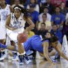 North Carolina guard Tierra Ruffin-Pratt (44) drives past Delaware guard Jaquetta May during the first half of a second-round game in the women\'s NCAA college basketball tournament in Newark, Del., Tuesday, March 26, 2013. (AP Photo/Patrick Semansky)