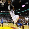Miami Heat small forward LeBron James (6) shoots against the Oklahoma City Thunder during the first half at Game 3 of the NBA Finals basketball series, Sunday, June 17, 2012, in Miami. (AP Photo/Larry W. Smith, Pool) ORG XMIT: NBA132