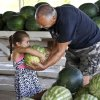 Chloe Harris wants to help her grandfather, Les Powell, carry this watermelon after he let her select it from a bin in Joel Tumblson\'s roadside stand on US 81. Watermelon farmers are busy harvesting melons in preparation for the annual watermelon festival in Rush Springs on Aug. 10, 2013. Photo taken Wednesday, July 24, 2013. Photo by Jim Beckel, The Oklahoman.