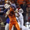 Oklahoma Sooners defensive back Gabe Lynn (9) breaks up a pass for UTEP\'s Jim Jones (3) during the college football game between the University of Oklahoma Sooners (OU) and the University of Texas El Paso Miners (UTEP) at Sun Bowl Stadium on Saturday, Sept. 1, 2012, in El Paso, Tex. Photo by Chris Landsberger, The Oklahoman