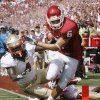 Cameron Kenney scores on a pass during the first half of the college football game between the University of Oklahoma Sooners (OU) and Florida State University Seminoles (FSU) at the Gaylord Family-Oklahoma Memorial Stadium on Saturday, Sept. 11 2010, in Norman, Okla. Photo by Steve Sisney, The Oklahoman