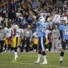 Tennessee Titans kicker Rob Bironas (2) and holder Brett Kern (6) react after Bironas\' game-winning field goal in the fourth quarter of an NFL football game against the Pittsburgh Steelers on Friday, Oct. 12, 2012, in Nashville, Tenn. The Titans won 26-23. (AP Photo/Wade Payne)
