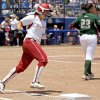 Oklahoma\'s Lauren Chamberlain rounds first base after hitting a home run against South Florida in the fourth inning of a Women\'s College World Series game at ASA Hall of Fame Stadium in Oklahoma City, Thursday, May 31, 2012. Photo by Bryan Terry, The Oklahoman