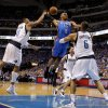 Oklahoma City\'s Russell Westbrook (0) has his shot blocked between Shawn Marion (0) and Tyson Chandler (6) of Dallas as Jason Kidd (2) watches during game 5 of the Western Conference Finals in the NBA basketball playoffs between the Dallas Mavericks and the Oklahoma City Thunder at American Airlines Center in Dallas, Wednesday, May 25, 2011. Photo by Bryan Terry, The Oklahoman