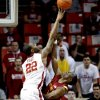 Oklahoma\'s Amath M\'Baye (22) blocks a shot by Iowa State Cyclone\'s Bubu Palo (1) but is called for a foul in the second half as the University of Oklahoma Sooners (OU) men defeat the Iowa State Cyclones 86-69 in NCAA, college basketball at Lloyd Noble Center on Saturday, March 2, 2013 in Norman, Okla. Photo by Steve Sisney, The Oklahoman