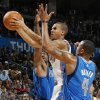 Oklahoma City\'s Eric Maynor (6) tries to move between Jason Terry (31), left, and Caron Butler (4) of Dallas during the NBA basketball game between the Dallas Mavericks and the Oklahoma City Thunder at the Oklahoma City Arena in Oklahoma City, Monday, Dec. 27, 2010. Dallas won, 103-93. Photo by Nate Billings, The Oklahoman