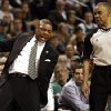 Boston Celtics\' Doc Rivers complains about a call to the referee during the fourth quarter of of their 90-76 loss to the New York Knicks in Game 3 of a first round NBA basketball playoff series in Boston Friday, April 26, 2013. (AP Photo/Winslow Townson)