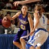 CLASS 4A HIGH SCHOOL BASKETBALL / STATE TOURNAMENT: Anadarko Lady Warrior Lakota Beatty (23) plays guarded by Vinita Lady Hornets\' Terri Markham (1) in the Oklahoma State Class 4A Girls Basketball Tournament at the Fairgrounds Arena on Friday, March 9, 2012, in Oklahoma City, Okla. Photo by Steve Sisney, The Oklahoman
