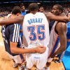 OKLAHOMA CITY, OK - NOVEMBER 28: Kevin Durant #35 of the Oklahoma City Thunder huddles up with teammates before playing the Houston Rockets on November 28, 2012 at the Chesapeake Energy Arena in Oklahoma City, Oklahoma. NOTE TO USER: User expressly acknowledges and agrees that, by downloading and or using this photograph, user is consenting to the terms and conditions of the Getty Images License Agreement. Mandatory Copyright Notice: Copyright 2012 NBAE (Photo by Layne Murdoch/NBAE via Getty Images)