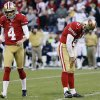 Photo -   San Francisco 49ers kicker David Akers (2) reacts with Andy Lee (4) after missing a 33-yard field goal during overtime of an NFL football game against the St. Louis Rams in San Francisco, Sunday, Nov. 11, 2012. San Francisco and St. Louis tied their game 24-24. (AP Photo/Marcio Jose Sanchez)