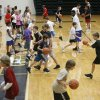 Young people practice dribbling the ball during the Terry Evans Basketball Camp on the campus of the University of Central Oklahoma in Edmond, OK, Monday, July 7, 2008. BY PAUL HELLSTERN, THE OKLAHOMAN