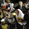 Edmond Santa Fe Students watch from the stands during a high school football game between Edmond Memorial and Edmond Santa Fe at Wantland Stadium in Edmond, Okla., Friday, Oct. 26, 2012. Photo by Garett Fisbeck, The Oklahoman