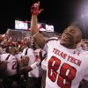 Texas Tech\'s Marcus Kennard (88) celebrates after the 41-38 win over Oklahoma during the college football game between the University of Oklahoma Sooners (OU) and Texas Tech University Red Raiders (TTU) at the Gaylord Family-Oklahoma Memorial Stadium on Sunday, Oct. 23, 2011. in Norman, Okla. Photo by Chris Landsberger, The Oklahoman
