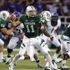 Photo -   Baylor quarterback Nick Florence (11) drops back to pass against TCU in the first half of a NCAA college football game, Saturday, Oct 13, 2012, in Waco, Texas. (AP Photo/Waco Tribune Herald, Jose Yau)