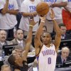 Oklahoma City\'s Russell Westbrook (0) shoots over Miami\'s Mario Chalmers (15) during Game 2 of the NBA Finals between the Oklahoma City Thunder and the Miami Heat at Chesapeake Energy Arena in Oklahoma City, Thursday, June 14, 2012. Photo by Chris Landsberger, The Oklahoman
