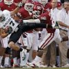 Oklahoma\'s Damien Williams (26) forces Baylor\'s Mike Hicks (17) out of bounds after an interception during the college football game between the University of Oklahoma Sooners (OU) and Baylor University Bears (BU) at Gaylord Family - Oklahoma Memorial Stadium on Saturday, Nov. 10, 2012, in Norman, Okla. Photo by Chris Landsberger, The Oklahoman