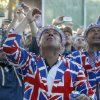 European fans are sprayed with Champagne as they celebrate winning the Ryder Cup PGA golf tournament Sunday, Sept. 30, 2012, at the Medinah Country Club in Medinah, Ill. (AP Photo/Charles Rex Arbogast) ORG XMIT: PGA235