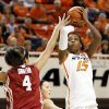 Oklahoma State\'s Toni Young (15) shoots over Oklahoma\'s Nicole Griffin (4) during the Bedlam women\'s college basketball game between Oklahoma State University (OSU) and the University of Oklahoma (OU) at Gallagher-Iba Arena in Stillwater, Okla., Saturday, Feb. 23, 2013. Photo by Nate Billings, The Oklahoman