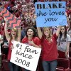 Fans Rylee Wilson, Kallie Sager, and Kennady Nance hold signs proclaiming Sager\'s affection toward Blake Griffin as the University of Oklahoma Sooners (OU) basketball alumni play at The Lloyd Noble Center on Saturday, Aug. 24, 2013 in Norman, Okla. Photo by Steve Sisney, The Oklahoman