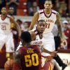 Oklahoma Sooner\'s Jordan Woodard (10) watches as Iowa State Cyclone\'s DeAndre Kane (50) loses the ball as the University of Oklahoma Sooners (OU) men defeat the Iowa State Cyclones (ISU) 87-82 in NCAA, college basketball at The Lloyd Noble Center on Saturday, Jan. 11, 2014 in Norman, Okla. Photo by Steve Sisney, The Oklahoman