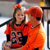 Curtis Morphew and daughter Emily Morphew, 5, from Stillwater wait for the gates to open as Oklahoma State University Cowboys (OSU) plays the University of Missouri Tigers (MIZZOU) at Faurot Field in Columbia, Mo. on Saturday October 11, 2008. BY STEVE SISNEY, THE OKLAHOMAN