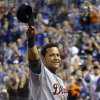 Detroit Tigers\' Miguel Cabrera (24) waves to the crowd after being replaced during the fourth inning of a baseball game against the Kansas City Royals at Kauffman Stadium in Kansas City, Mo., Wednesday, Oct. 3, 2012. (AP Photo/Orlin Wagner)