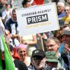 Photo - Hundreds of demonstrators protest against the  supposed surveillance by the US National Security Agency NSA , during a rally  in Frankfurt, Germany,Saturday July 27,  2013.  (AP Photo/dpa, Roland Holschneider)