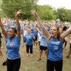 Tania Way-Garcia, left, and Ashlee Paul practice the dance moves during a Thunder mob dance to send to Ellen DeGeneres at Hafer Park in Edmond Wednesday, May 18, 2011. Photo by Doug Hoke, The Oklahoman.