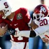 Oklahoma\'s Quinton Carter (20) tries to stop Stanford\'s Tavita Pritchard (14) during the second half of the Brut Sun Bowl college football game between the University of Oklahoma Sooners (OU) and the Stanford University Cardinal on Thursday, Dec. 31, 2009, in El Paso, Tex. Photo by Chris Landsberger, The Oklahoman