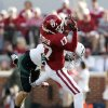 Oklahoma Sooners\'s Trey Metoyer (17) catches a pass guarded by Baylor Bear\'s Clay Fuller (23) during the college football game between the University of Oklahoma Sooners (OU) and the Baylor University Bears (BU) at Gaylord Family-Oklahoma Memorial Stadium in Norman, Okla., Saturday, Nov. 10, 2012. Photo by Steve Sisney, The Oklahoman