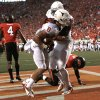 Texas Jaxon Shipley (8) and D.J. Grant (18) celebrate a touchdown in front of Oklahoma State\'s Justin Gilbert (4) and Daytawion Lowe (8) during a college football game between Oklahoma State University (OSU) and the University of Texas (UT) at Boone Pickens Stadium in Stillwater, Okla., Saturday, Sept. 29, 2012. Photo by Sarah Phipps, The Oklahoman
