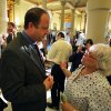 U.S. Rep. Jared Polis, D-Colo, left, speaks with Randee Webb of the organization What The Frack?! Arapahoe, following a news conference about oil and gas drilling, at the Capitol, in Denver, Monday Aug. 4, 2014. Polis joined Colo. Gov. John Hickenlooper on Monday Aug. 4 to detail what they\'re pitching as a compromise to prevent four initiatives that support or oppose fracking. (AP Photo/Brennan Linsley)