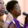 Jessie Davis-Wesley (right) and Floyd Anderson, members of E.J. Perry Gospel Ensemble Choir, perform during a celebration of Black History and Culture at the Midwest City Public Library in Midwest City on Sunday, Feb. 15, 2009. By John Clanton, The Oklahoman