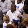 Former Oklahoma running back Adrian Peterson watches during Game 2 of the NBA Finals between the Oklahoma City Thunder and the Miami Heat at Chesapeake Energy Arena in Oklahoma City, Thursday, June 14, 2012. Photo by Nate Billings, The Oklahoman