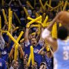 Fans try to distract Denver\'s Nene (31) during the first round NBA basketball playoff game between the Oklahoma City Thunder and the Denver Nuggets on Wednesday, April 20, 2011, at the Oklahoma City Arena. Photo by Sarah Phipps, The Oklahoman