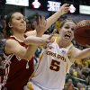 Oklahoma\'s Nicole Kornet (1) goes for the ball beside Iowa State\'s Hallie Christofferson (5) during the Big 12 tournament women\'s college basketball game between the University of Oklahoma and Iowa State University at American Airlines Arena in Dallas, Sunday, March 10, 2012. Photo by Bryan Terry, The Oklahoman
