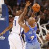 Chauncy Billups shoots over the block attempt by Damien Wilkins in the second half as the Oklahoma City Thunder play the Denver Nuggets at the Ford Center in Oklahoma City, Okla. on Friday, January 2, 2009. Photo by Steve Sisney/The Oklahoman