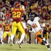 ISU\'s Ter\'Ran Benton (22) intercepts a pass intended for OSU\'s Justin Blackmon (81) in double overtime during a college football game between the Oklahoma State University Cowboys (OSU) and the Iowa State University Cyclones (ISU) at Jack Trice Stadium in Ames, Iowa, Friday, Nov. 18, 2011. Iowa State won, 37-31, in double overtime. Photo by Nate Billings, The Oklahoman