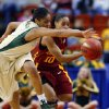 Jhasmin Player (15) and Denae Stuckey (10) reach for a deflectiion during the first half of the 2009 Big 12 Women\'s Basketball Championship game between Baylor University and Iowa State in the Cox Convention Center in Oklahoma City, Oklahoma, on Saturday, March 14, 2009. PHOTO BY STEVE SISNEY, THE OKLAHOMAN