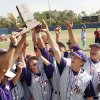 The Class B baseball team from Red Oak, Oklahoma, celebrates their championship trophy after beating the team from Roff in the championship game at Dolese Park in Oklahoma City, OK, Saturday, Oct. 11, 2008. BY PAUL HELLSTERN, THE OKLAHOMAN