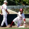 Oklahoma\'s Anthony Hermelyn (9) is safe at third on a triple as the University of Oklahoma Sooner (OU) baseball team plays the Baylor Bears in college baeball at L. Dale Mitchell Park on May 3, 2014 in Norman, Okla. Photo by Steve Sisney, The Oklahoman