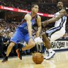 Oklahoma City\'s Kevin Martin (23) drives against Memphis\' Tony Allen (9) during Game 3 in the second round of the NBA basketball playoffs between the Oklahoma City Thunder and Memphis Grizzles at the FedExForum in Memphis, Tenn., Saturday, May 11, 2013. Photo by Nate Billings, The Oklahoman