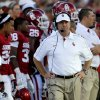 Oklahoma coach Bob Stoops paces the sidelines during the college football game between the University of Oklahoma Sooners (OU) and Florida A&M Rattlers at Gaylord Family—Oklahoma Memorial Stadium in Norman, Okla., Saturday, Sept. 8, 2012. Photo by Bryan Terry, The Oklahoman