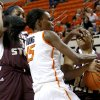 Photo - Oklahoma State's Toni Young (15) fights for control of the ball between Texas State's Ashley Ezeh, at left,  and Kaylan Martin during a women's college basketball game between Oklahoma State University and Texas State at Gallagher-Iba Arena in Stillwater, Okla., Wednesday, Nov. 28, 2012.  Photo by Bryan Terry, The Oklahoman