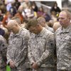 Soldiers pray during a homecoming ceremony for members of the Oklahoma National Guard\'s 45th Infantry Brigade Combat Team returning from Afghanistan and Kuwait at the Will Rogers Air National Guard Base in Oklahoma City, Thursday, April 5, 2012. Photo by Sarah Phipps, The Oklahoman