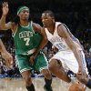 Oklahoma City\'s Kevin Durant (35) drives past Marquis Daniels (7) of Boston in the first half of the NBA basketball game between the Boston Celtics and the Oklahoma City Thunder at the Ford Center in Oklahoma City, Friday, Dec. 4, 2009. Photo by Nate Billings, The Oklahoman ORG XMIT: KOD