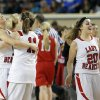 From left to right, Erick\'s Kelsey Brinkley, Maranda Janz, Savannah Osmond celebrate during the Class B Girls semifinal game of the state high school basketball tournament between Erick and Shattuck at the State Fair Arena., Friday, March 1, 2013. Photo by Sarah Phipps, The Oklahoman