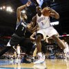 Oklahoma City\'s Serge Ibaka (9) works against Minnesota\'s Derrick Williams (7) during an NBA basketball game between the Oklahoma City Thunder and Minnesota Timberwolves at Chesapeake Energy Arena in Oklahoma City, Friday, Feb. 22, 2013. Photo by Nate Billings, The Oklahoman